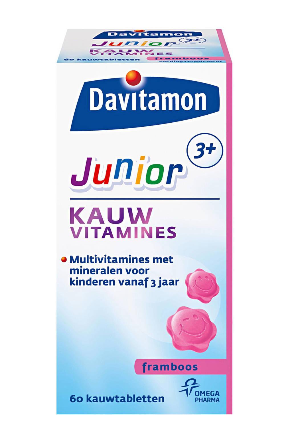 Davitamon Junior 3+ framboos 60 kauwtabletten, 60 stuks, Framboos
