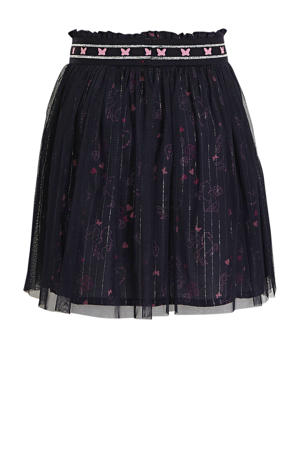 rok met all over print marine/roze