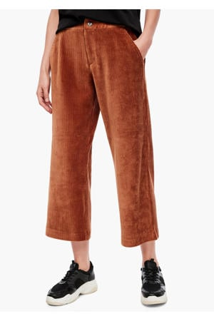 corduroy cropped loose fit broek cognac