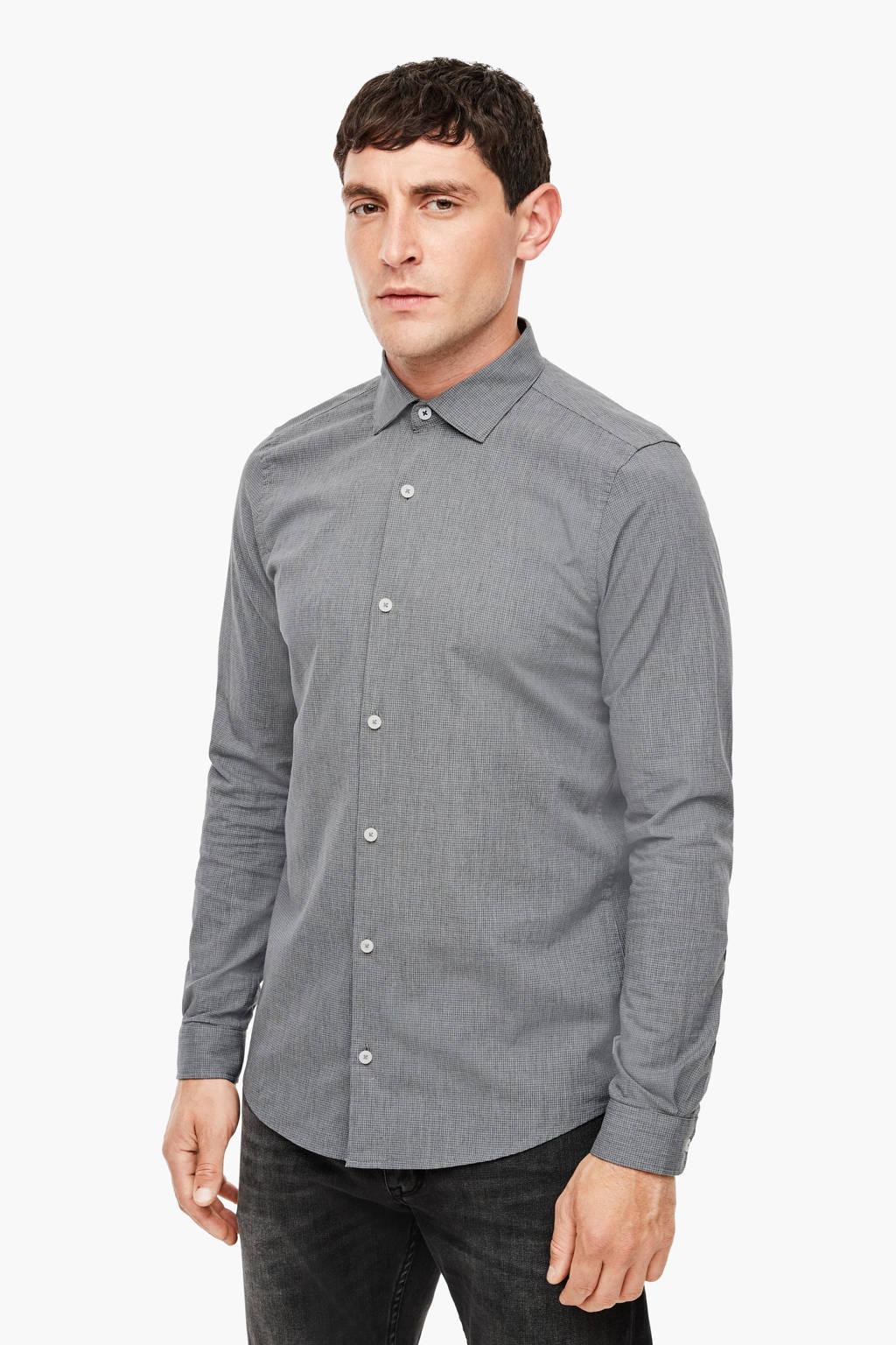 s.Oliver slim fit overhemd grijs, Grijs
