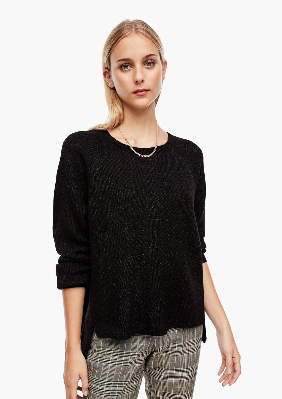 s.Oliver trui met wol zwart, Zwart