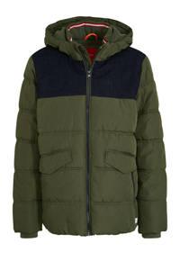 s.Oliver gewatteerde winterjas donkergroen/donkerblauw, Donkergroen/donkerblauw
