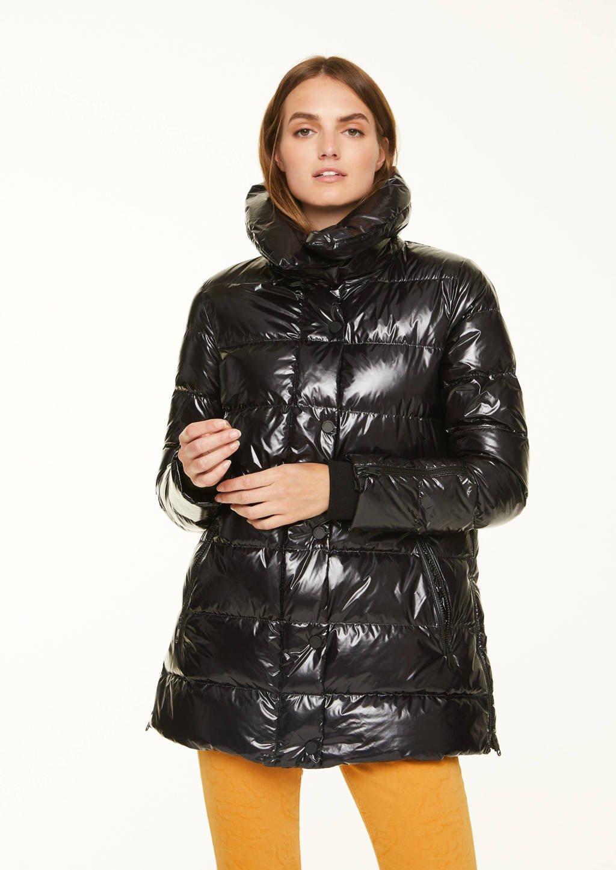 comma casual identity gewatteerde jas zwart, Zwart