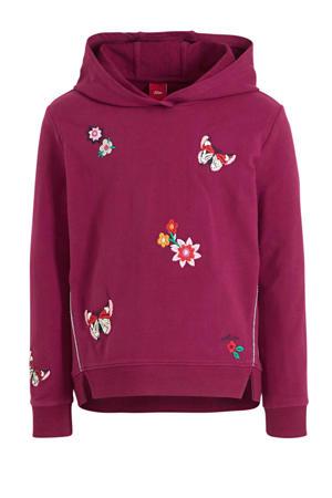 gebloemde hoodie roze/wit/geel