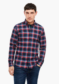 s.Oliver geruit regular fit denim overhemd marine, Marine