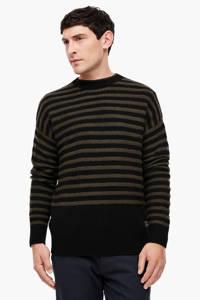 Q/S designed by gestreepte trui met wol zwart, Zwart