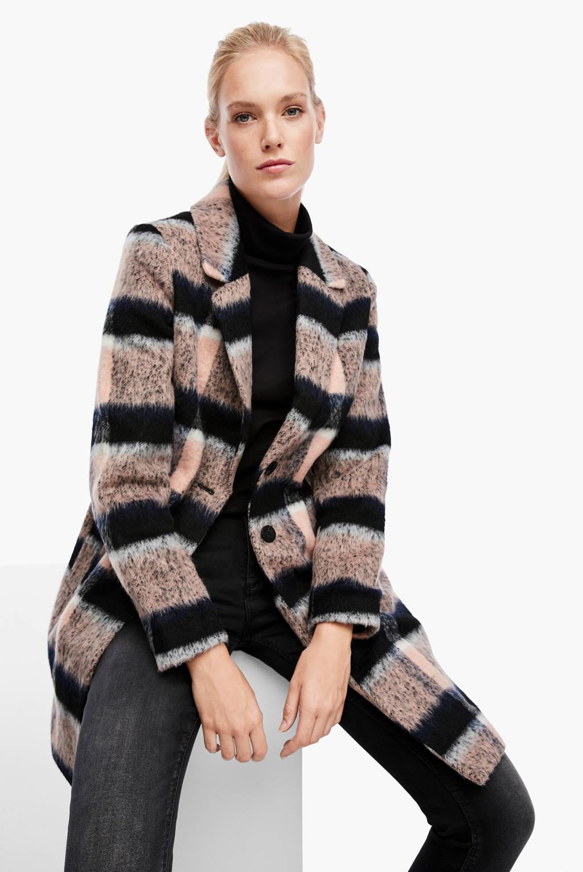 Q/S designed by coat met wol beige/marine, Beige/marine