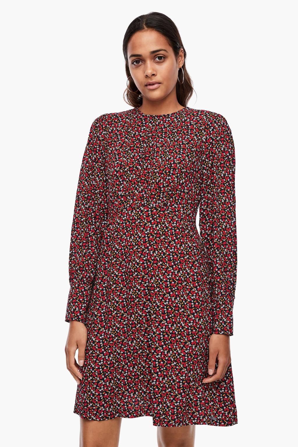 Q/S designed by gebloemde jurk zwart/rood/wit, Zwart/rood/wit