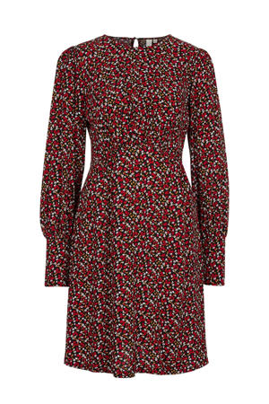 gebloemde jurk zwart/rood/wit