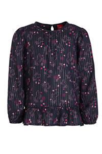 s.Oliver blouse met all over print en plooien marine/roze, Marine/roze