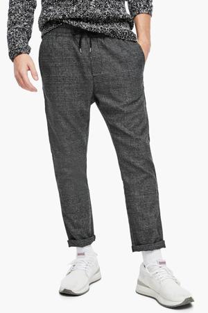 geruite slim fit broek antraciet/zwart