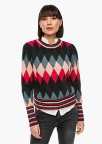 Q/S designed by gebreide trui met all over print donkergroen/rood/roze, Donkergroen/rood/roze