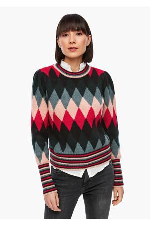 gebreide trui met all over print donkergroen/rood/roze
