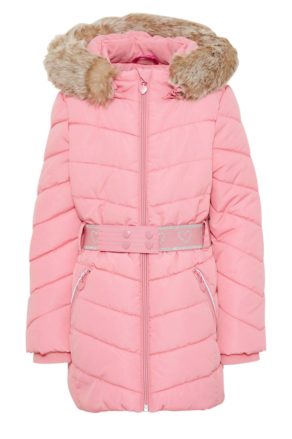 s.Oliver gewatteerde winterjas met ceintuur roze/zilver, Roze/Zilver
