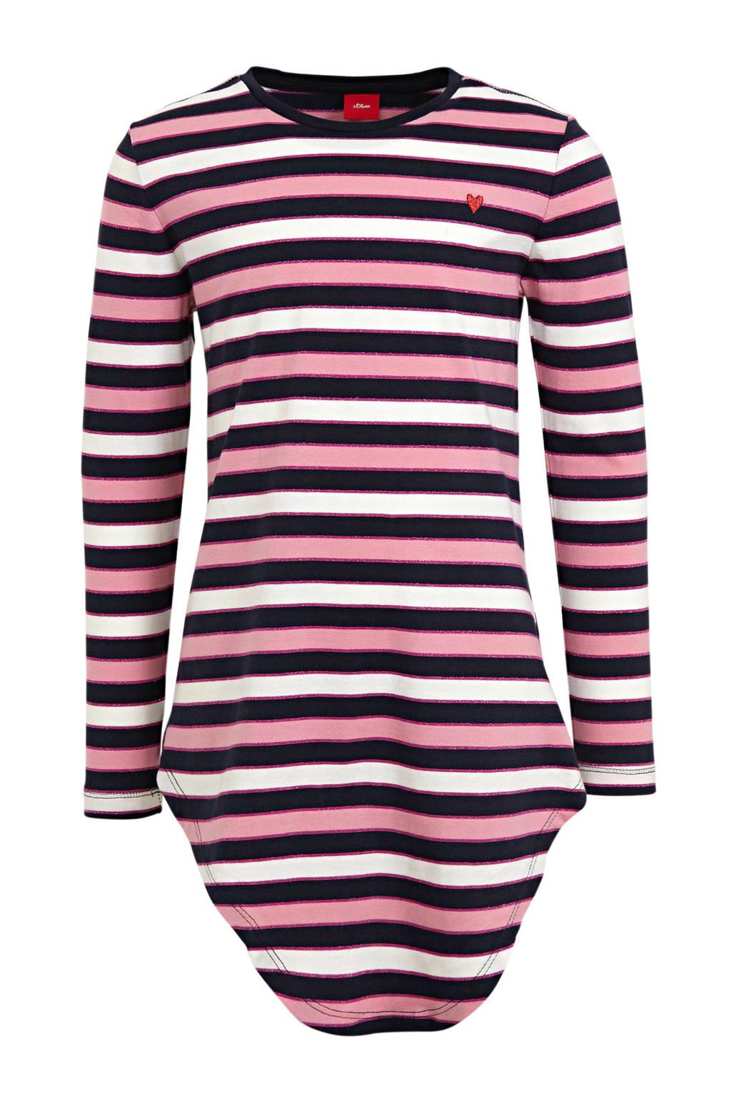 s.Oliver gestreepte longsleeve marine/roze/wit, Marine/roze/wit