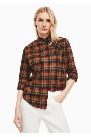 geruite blouse donkerbruin/zwart