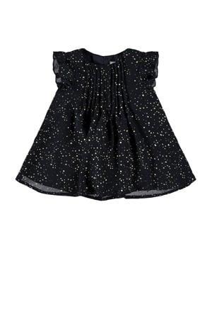 jurk Rilvisa met all over print en ruches donkerblauw