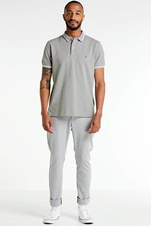 regular fit polo met contrastbies grijs