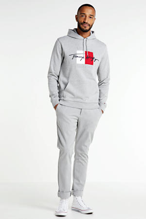 hoodie met logo lichtgrijs melange