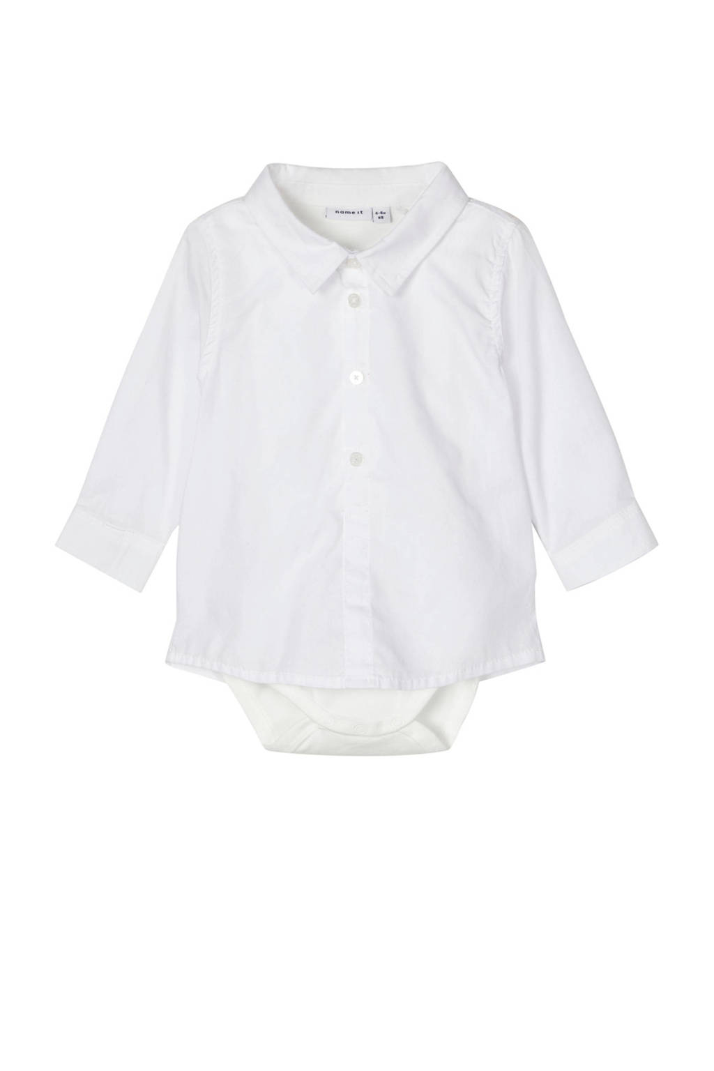 NAME IT BABY overhemd Sander met romper wit, Wit