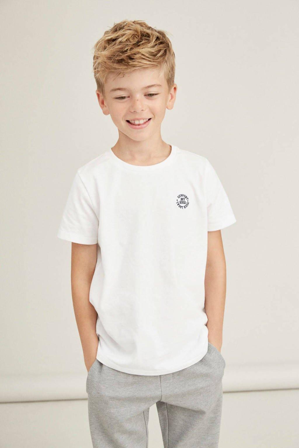 NAME IT KIDS T-shirt Tano van biologisch katoen wit, Wit