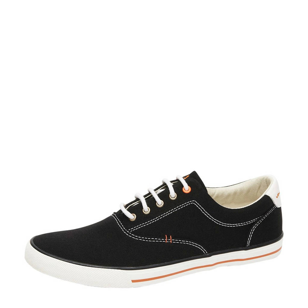 Van Lier Vulca  canvas sneakers zwart, Zwart