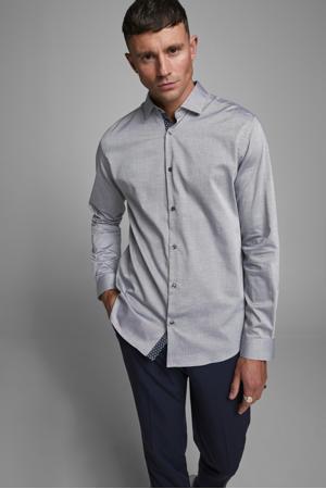 gemêleerd slim fit overhemd grijsblauw