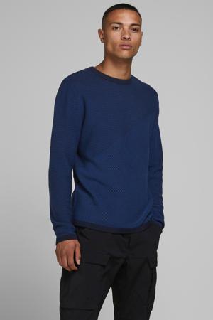 gebreide trui met textuur blauw