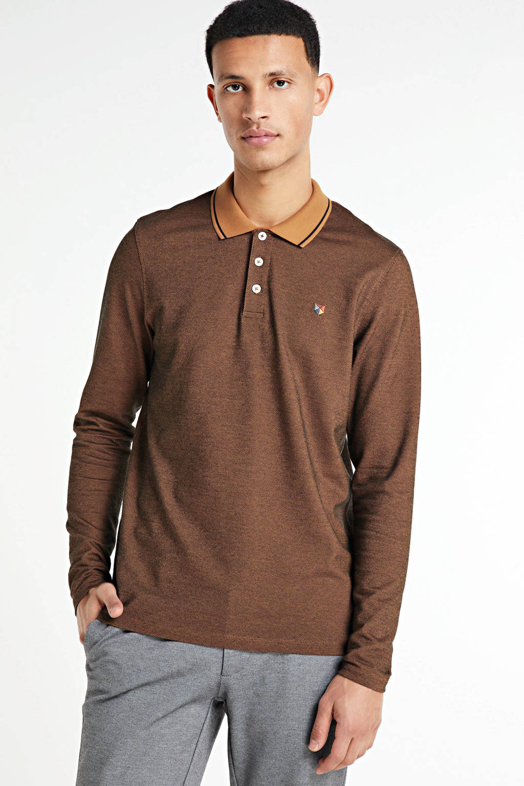 JACK & JONES PREMIUM regular fit polo brique, Brique