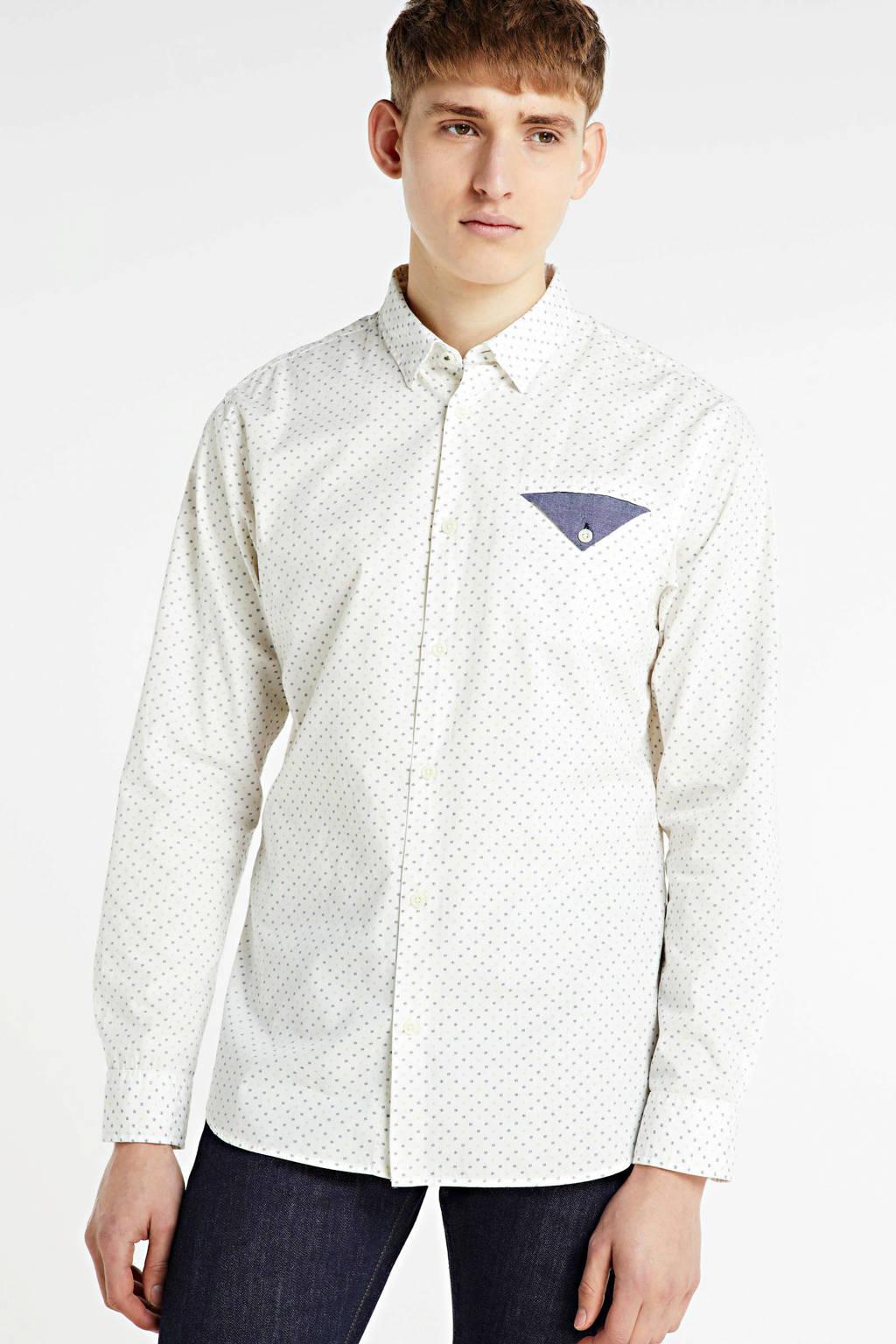 JACK & JONES ORIGINALS slim fit overhemd met biologisch katoen ecru, Ecru