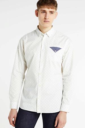 slim fit overhemd met biologisch katoen ecru