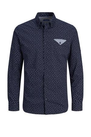 slim fit overhemd met biologisch katoen donkerblauw
