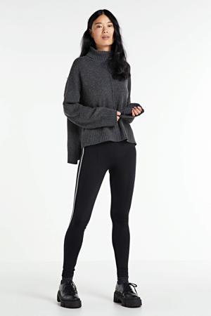 legging met zilverkleurige zijbies zwart