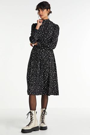 jurk met print zwart/ecru
