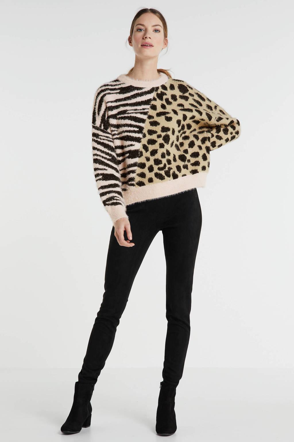 Wild Flower trui met dieren jaquard roze/zwart/camel, Roze/camel/zwart