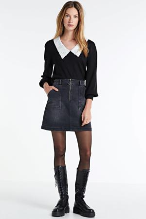 trui met kanten kraag zwart