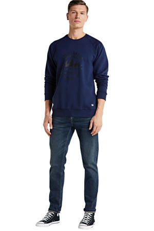 sweater Frankly met printopdruk donkerblauw