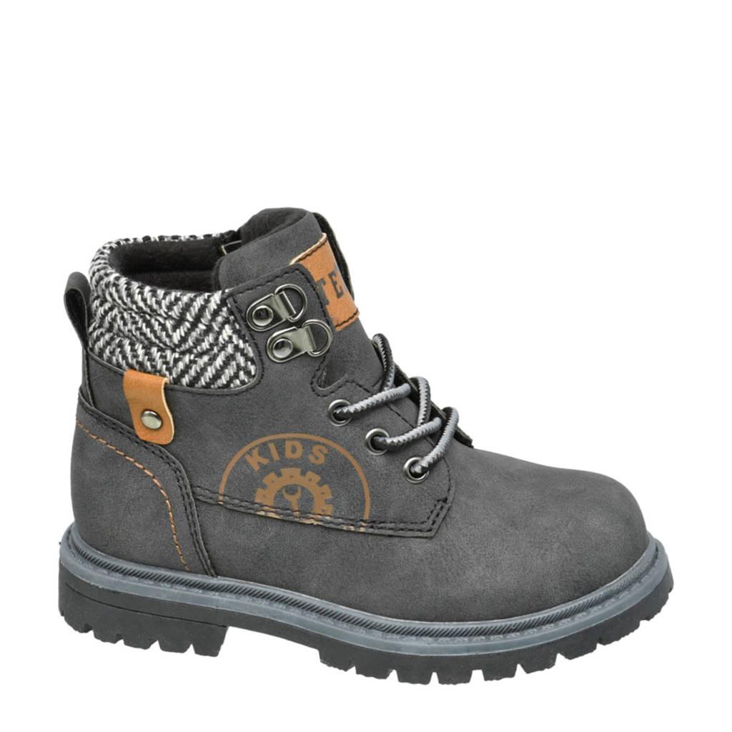 Bobbi-Shoes   veterboots grijs, Grijs