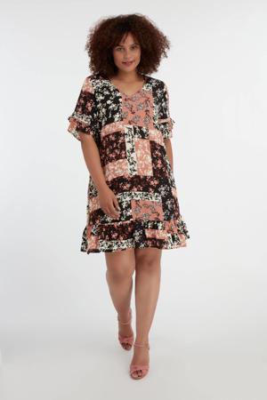 jurk met all over print en ruches oudroze/zwart/wit