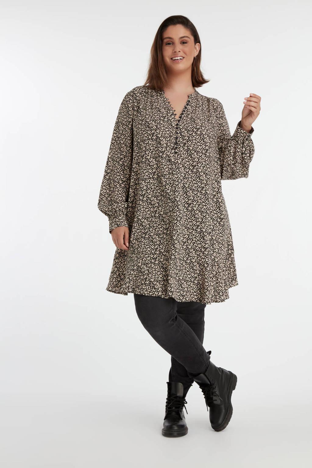 MS Mode blouse met all over print en plooien zwart/zand, Zwart/zand
