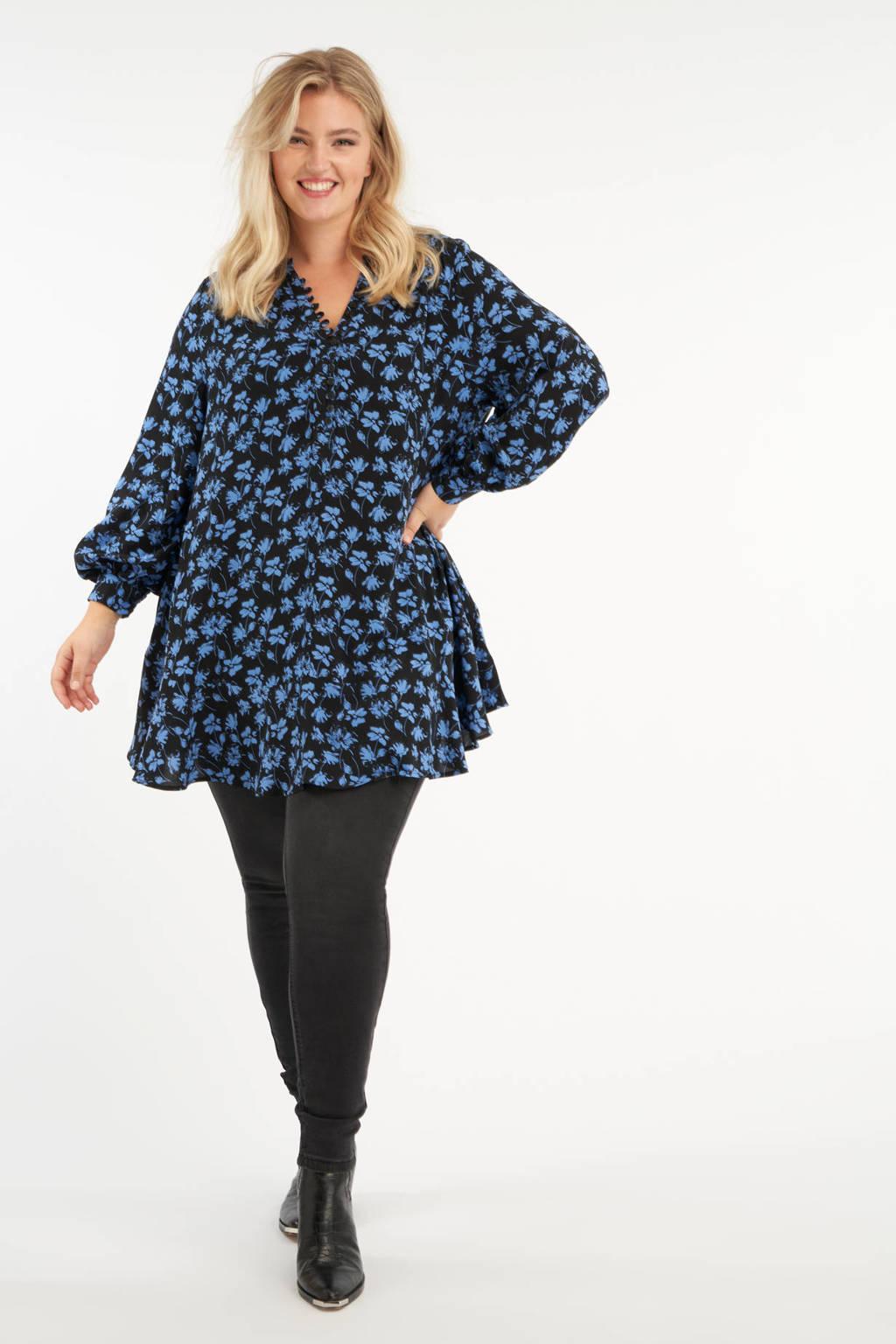 MS Mode tuniek met all over print en plooien zwart/blauw/, Zwart/blauw/