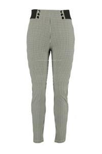 MS Mode high waist skinny tregging met pied-de-poule wit/zwart, Wit/zwart
