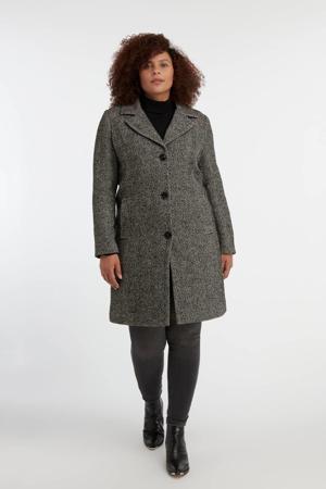 coat met wol en visgraat wit/zwart