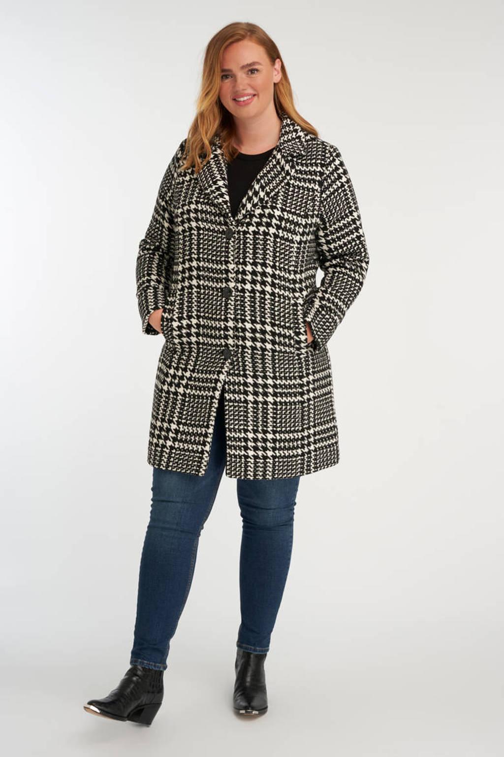 MS Mode coat met pied-de-poule wit/zwart, Wit/zwart