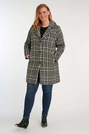 coat met pied-de-poule wit/zwart