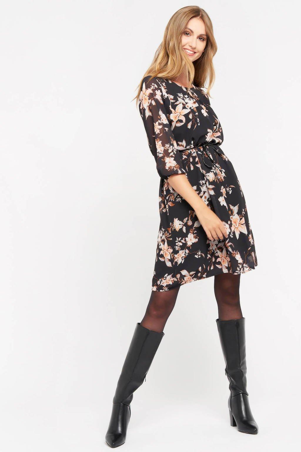 LOLALIZA gebloemde semi-transparante jurk zwart/créme, Zwart/Créme