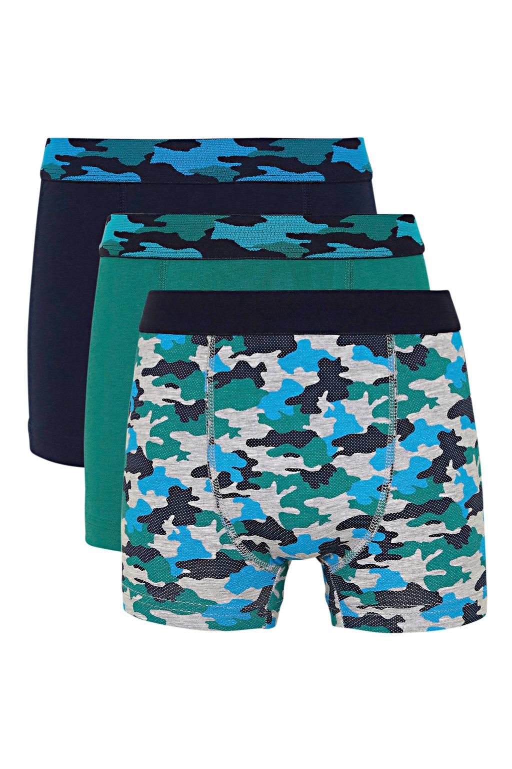 C&A Here & There   boxershort - set van 3 donkerblauw/groen, Donkerblauw/groen
