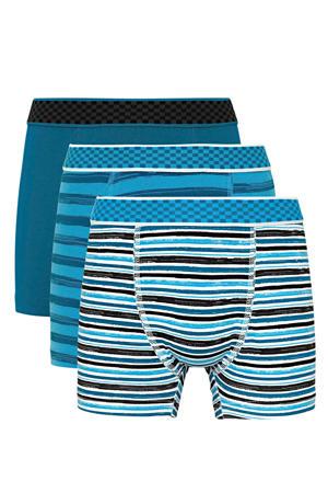 boxershort - set van 3 petrol/zwart