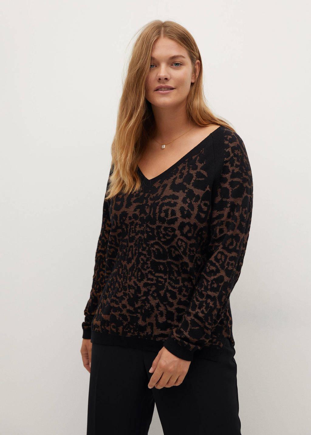 Violeta by Mango trui met panterprint zwart, Zwart