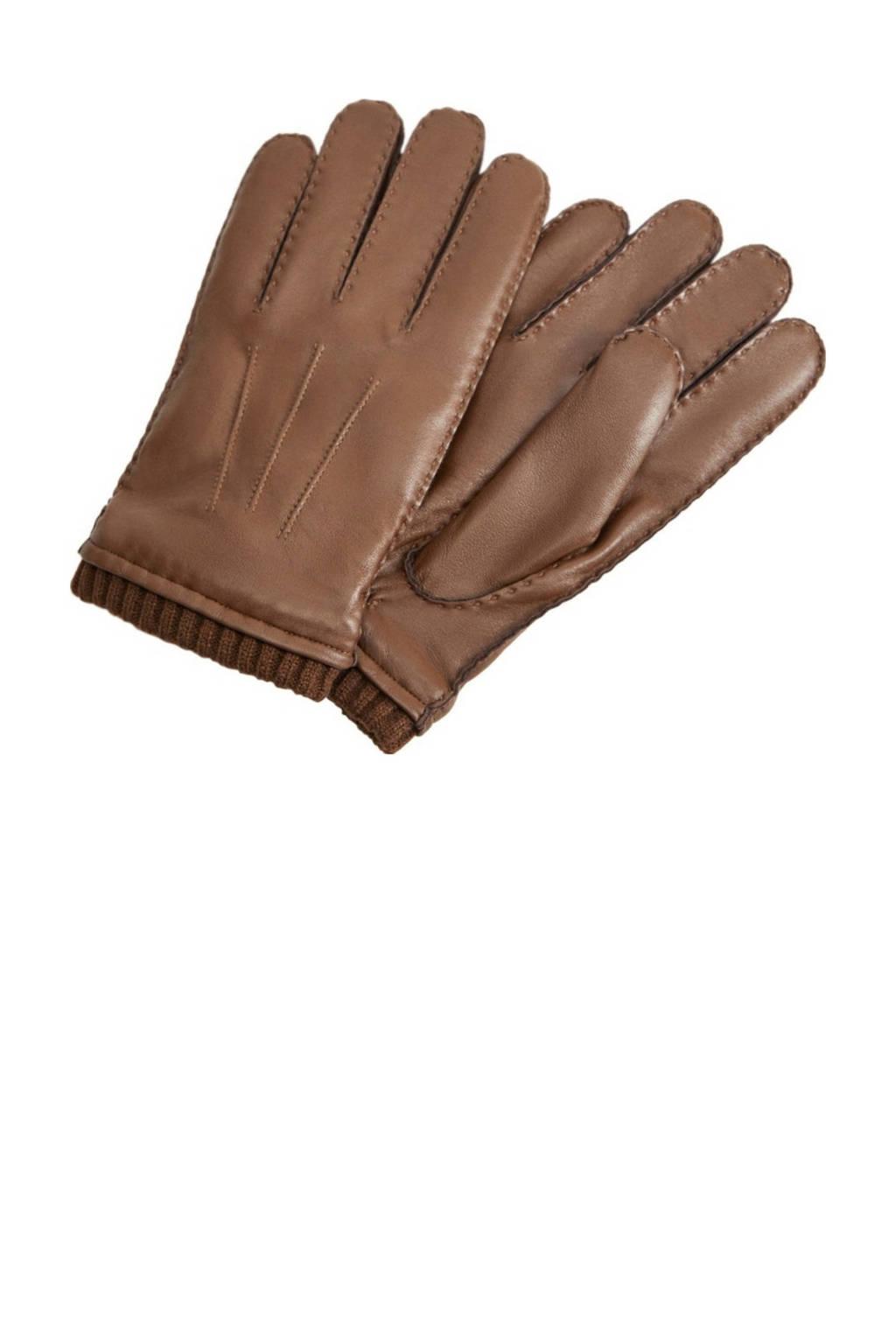 Mango Man leren handschoenen middenbruin, Middenbruin